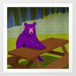 Purple Bear Picnic Table Art Print