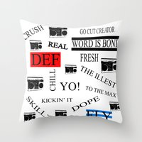 80s Throw Pillows featuring 80s Baby! by Kimberly J Graphics