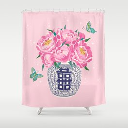 peony bouquet in ginger jar/pink Shower Curtain