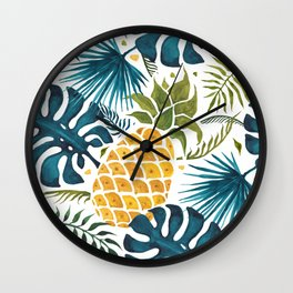 Golden pineapple on palm leaves foliage Wall Clock