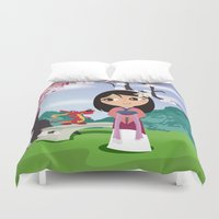 mulan Duvet Covers featuring Mulan by Loud & Quiet
