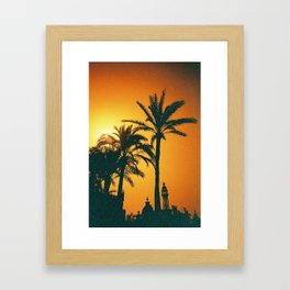 Sunset palms Framed Art Print