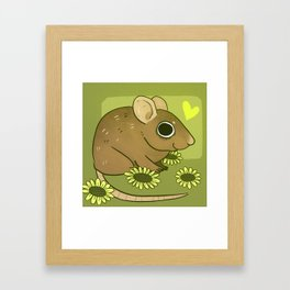 Forest mouse and flowers Framed Art Print