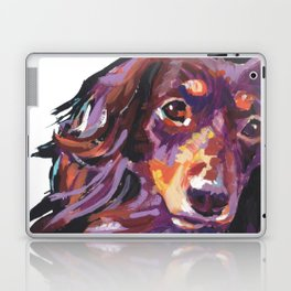 LongHaired Dachshund Dog Portrait bright colorful Pop Art Painting by LEA Laptop & iPad Skin
