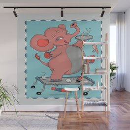 I'm so drunk, I'm seeing pink elephants! Wall Mural