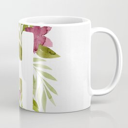 Monogram H with red watercolor flowers and leaves. Floral letter H Coffee Mug