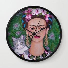 Frida cat lover closer Wall Clock