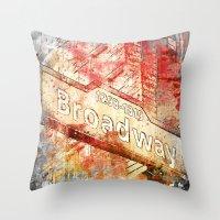 broadway Throw Pillows featuring Broadway  by LebensART