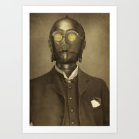 yellow Art Prints featuring Baron Von Three PO  by Terry Fan
