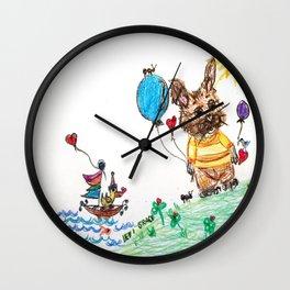 ::  Honey Rabbit on the Knoll :: Wall Clock