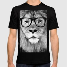Hippest Lion with glasses - Black and white photograph Mens Fitted Tee Black MEDIUM