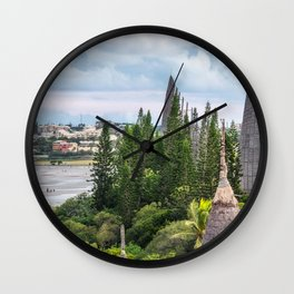 Tjibaou Cultural Centre on the seashore at low tide in Noumea. Wall Clock
