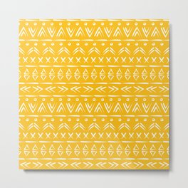 Mustard yellow and white boho mud cloth pattern design Metal Print