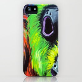 Urban Street Art: Screaming Fluorescent Monkeys iPhone Case