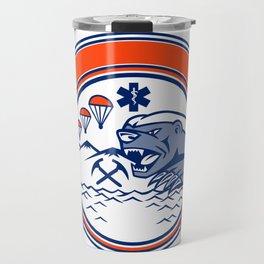Honey Badger Land Sea Air Rescue Mascot Travel Mug
