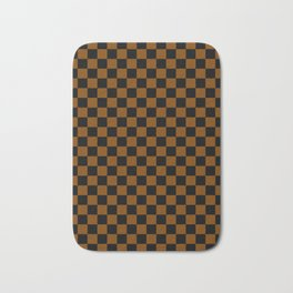 Black and Chocolate Brown Checkerboard Bath Mat
