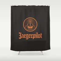 pilot Shower Curtains featuring Jaeger pilot by Aldo Cervantes Saldaña