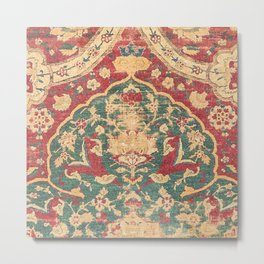 Peonies Kashan II // 16th Century Distressed Colorful Red Tan Light Blue Ornate Accent Rug Pattern Metal Print