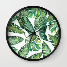 Jungle Leaves, Banana, Monstera #society6 Wall Clock