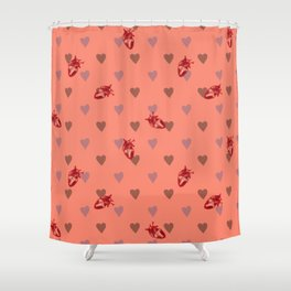 Orange Heart Pattern Shower Curtain