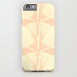 ginkgo leaf pattern in vintage pink iPhone Case