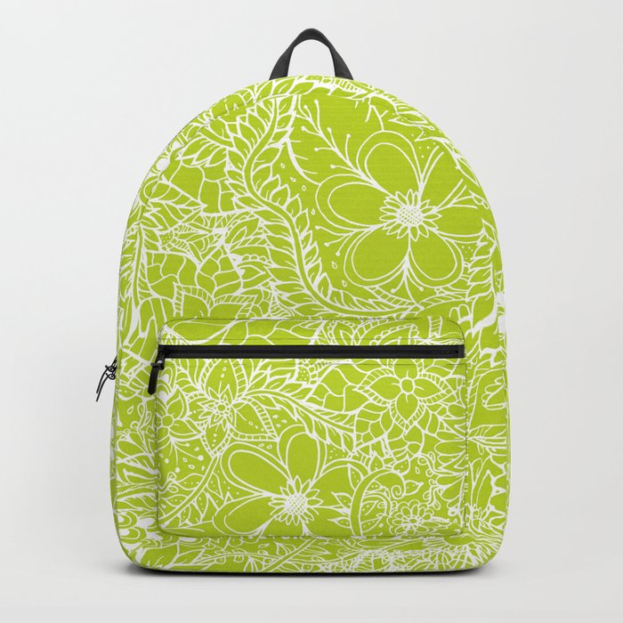 Modern white hand drawn floral lace illustration on lime green punch Backpack
