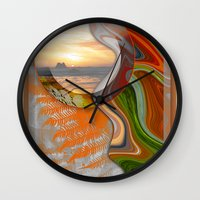 pushing daisies Wall Clocks featuring Pushing Paradise by Brenda Starr
