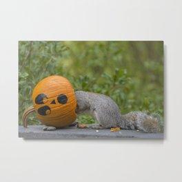 Pumpkinhead Squirrel Metal Print