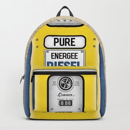 Retro Gas Pump in Navy Blue and Canary Yellow Backpack