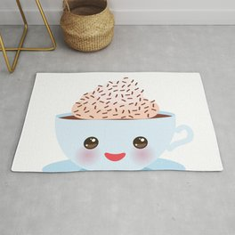 Cute blue Kawai cup, coffee with pink cheeks and winking eyes Rug