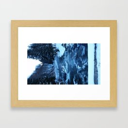 frozen mountain river Framed Art Print