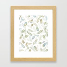 Tropical leaf pattern - Kaki, beige & grey Framed Art Print