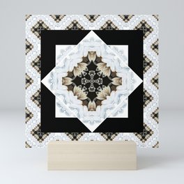 diamond cross pattern with borders Mini Art Print