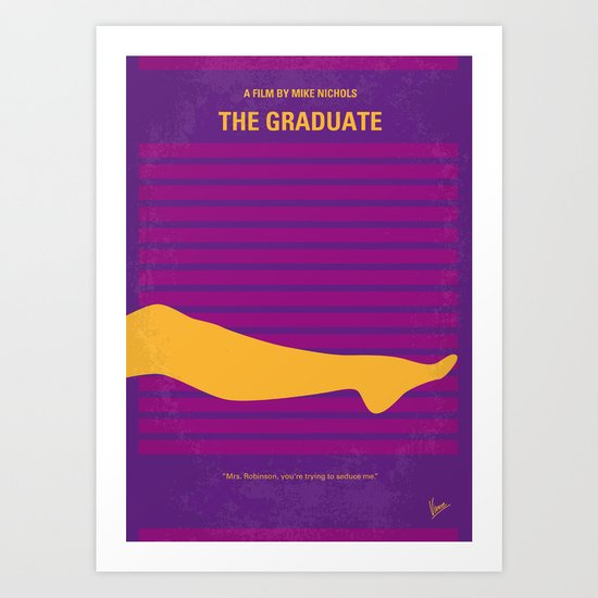 No135 My THE GRADUATE minimal movie poster Art Print