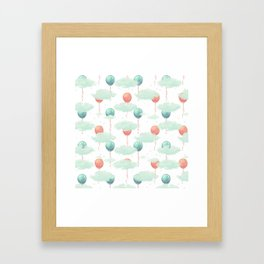 Modern coral teal watercolor clouds balloons pattern Framed Art Print