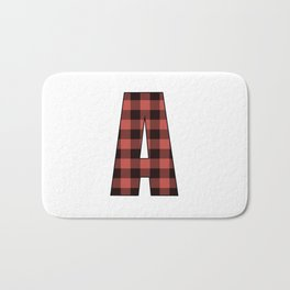 Letter A Monogram Black and Red Buffalo Plaid/Check Bath Mat