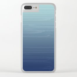 Light blue to navy painted gradient ombre Clear iPhone Case