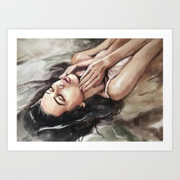 Watercolor hand-painted realistic young sexy woman in water illustration Art Print
