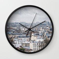 Snowy Paris Wall Clock