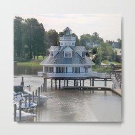 Building on a lake Metal Print