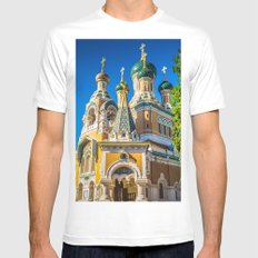 Russian Orthodox Cathedral, Nice France MEDIUM Mens Fitted Tee White