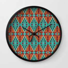 Bright Orange Red Aqua Turquoise Teal Rustic Native American Indian Mosaic Pattern Wall Clock