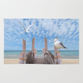 Dock on Beach with Seagulls A340 Rug