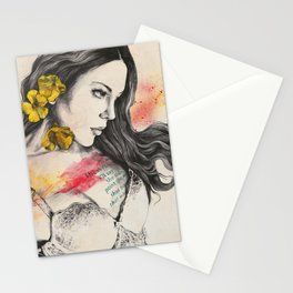 So Warm A Solitude | flower woman in lingerie Stationery Cards