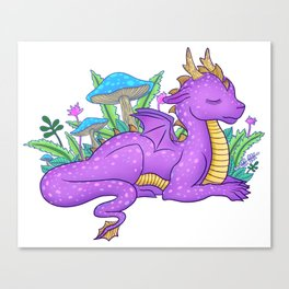 Purple Dragon with Flora Canvas Print