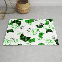 Video Game White and Green Rug
