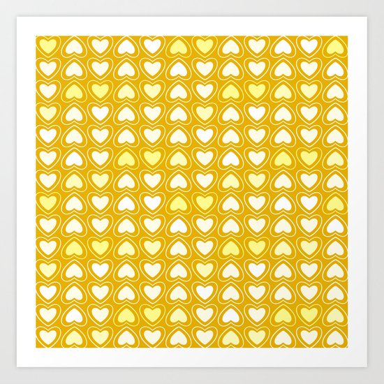 Yellow Mosaic hearts Art Print