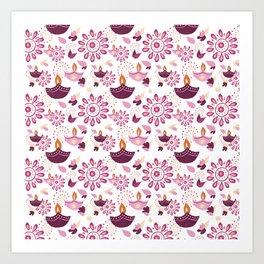 Pink Diwali pattern Art Print