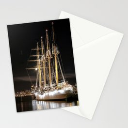 Sailing ship at  the pier Stationery Cards