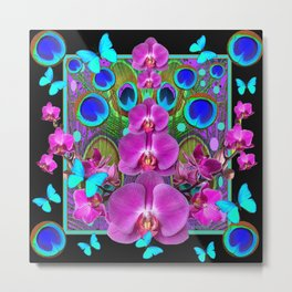 Decorative purple, Blue, Pink Orchids Butterflies Peacock Eyes Metal Print